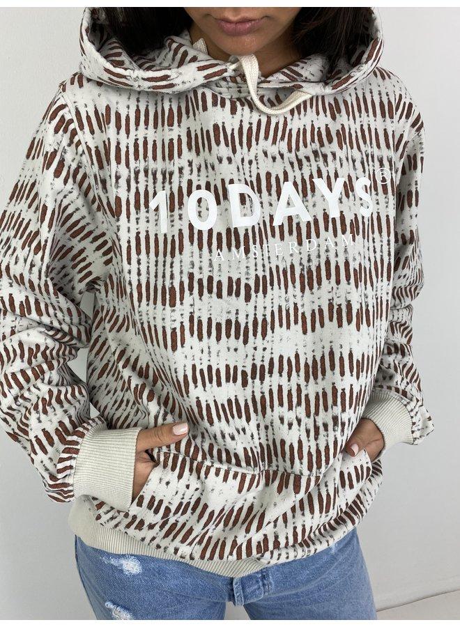 Trui hoodie skeleton light safari