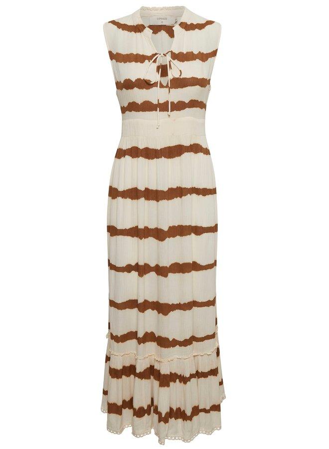 Jurk LeighCR dress ev dull gold tiedye stripe