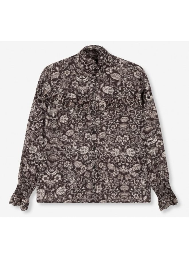 Blouse woven flower linen blouse black