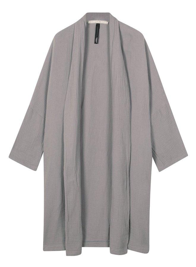 Vest cardigan crinkle silver grey