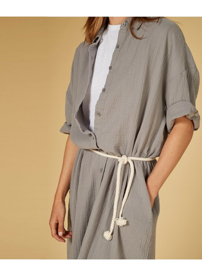 Jurk dress crinkle silver grey
