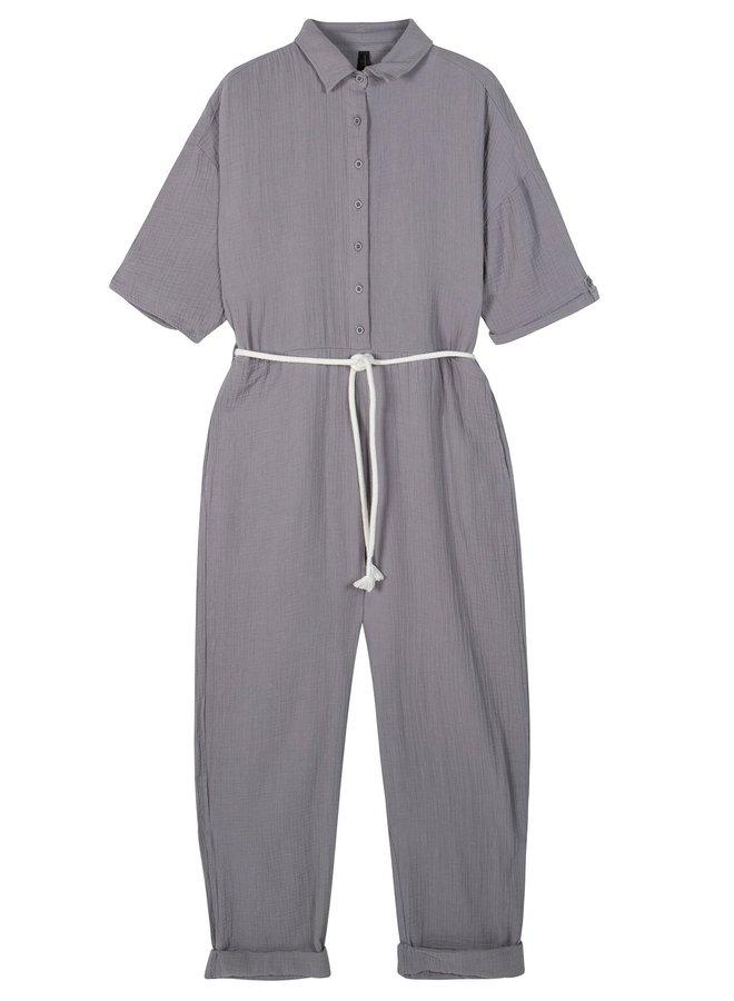 Jumpsuit crincle silver grey