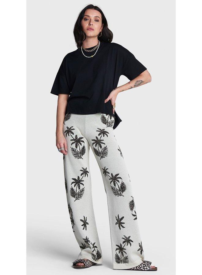 Broek ladies knitted palmtree wide leg pants naturel