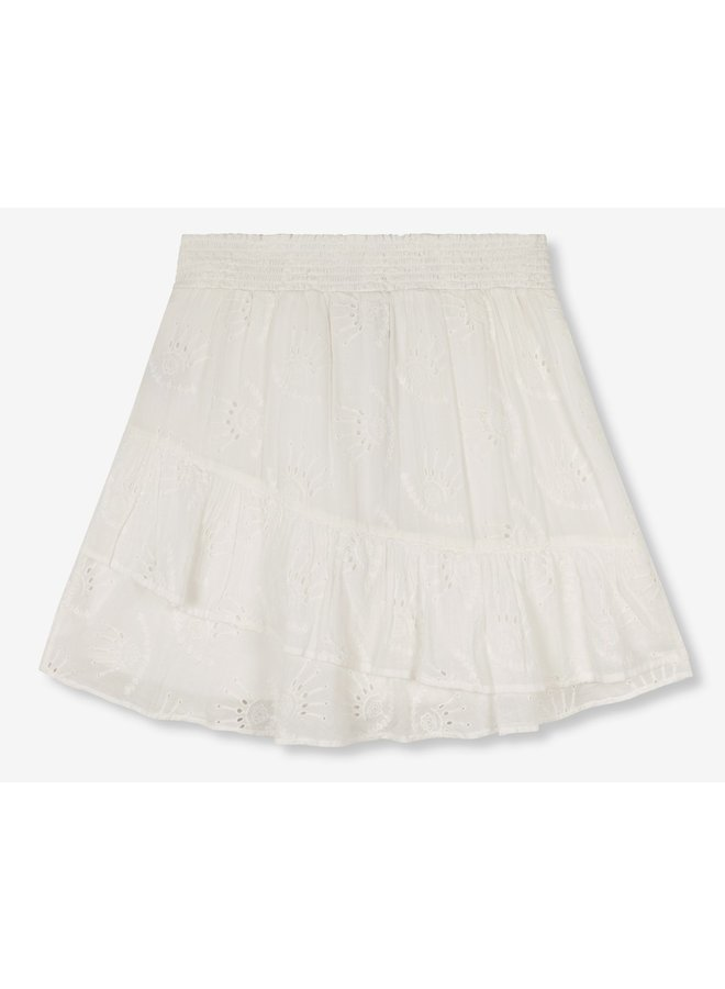 Rok ladies woven broderie soft white