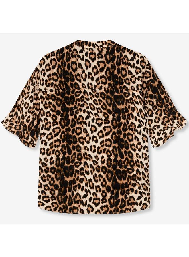 Blouse ladies woven tropical leopard blouse creamy white