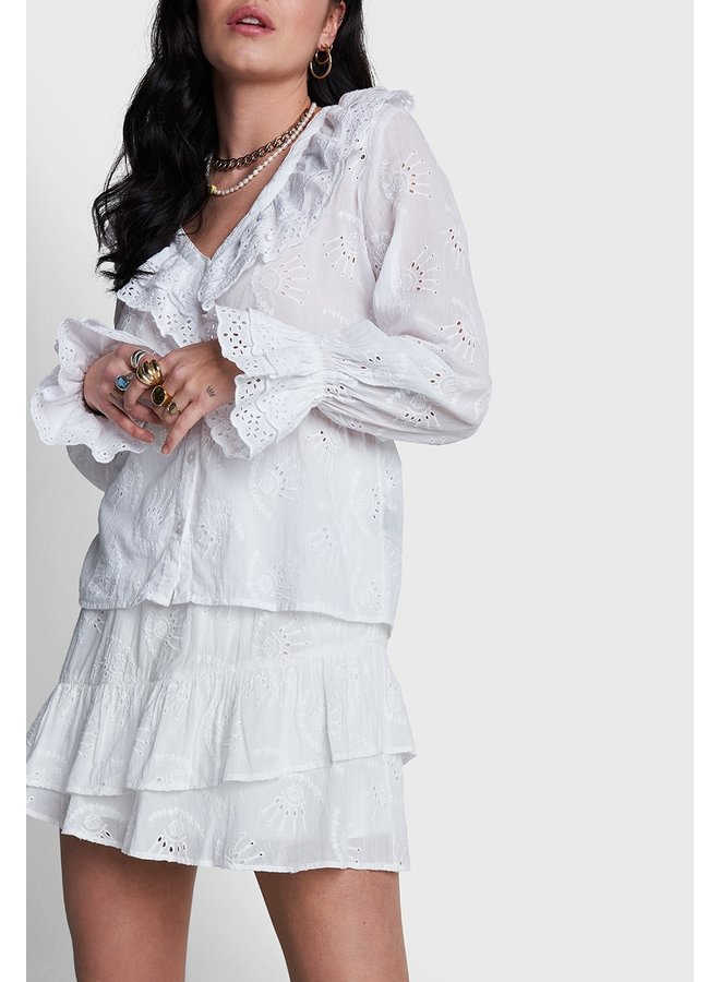 Blouse ladies woven broderie blouse soft white