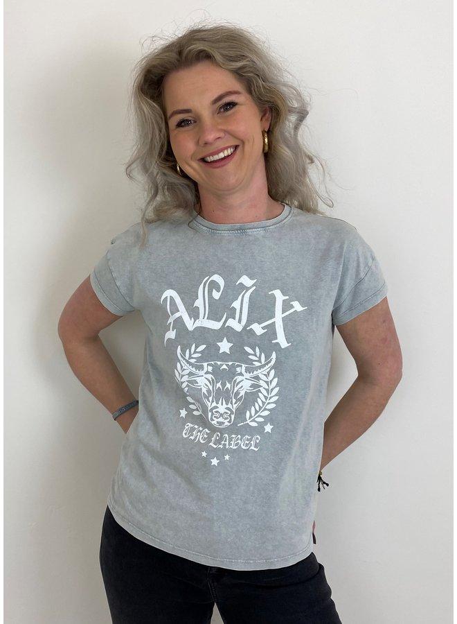 T-shirt ladies knitted Alix university T-shirt pale grey