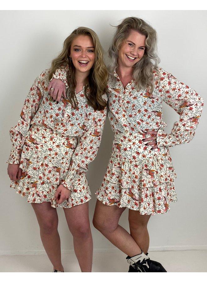 Rok ladies woven floral ruffle creamy white