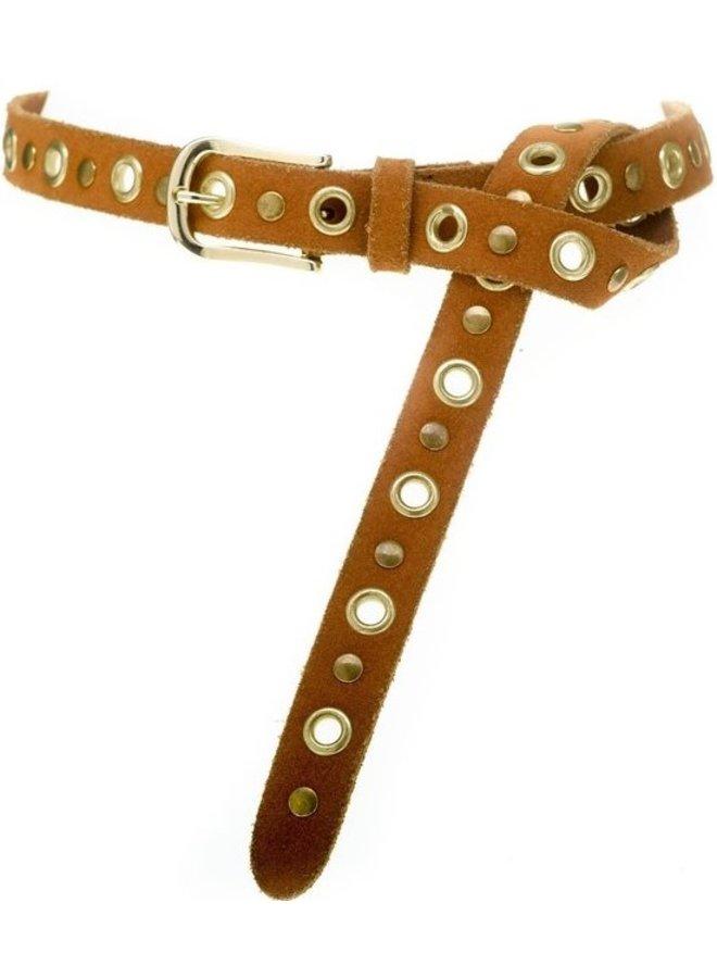 Riem Eyelets studs belt congnac/gold