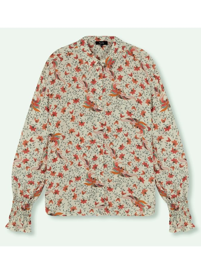 Blouse ladies woven floral blouse creamy white