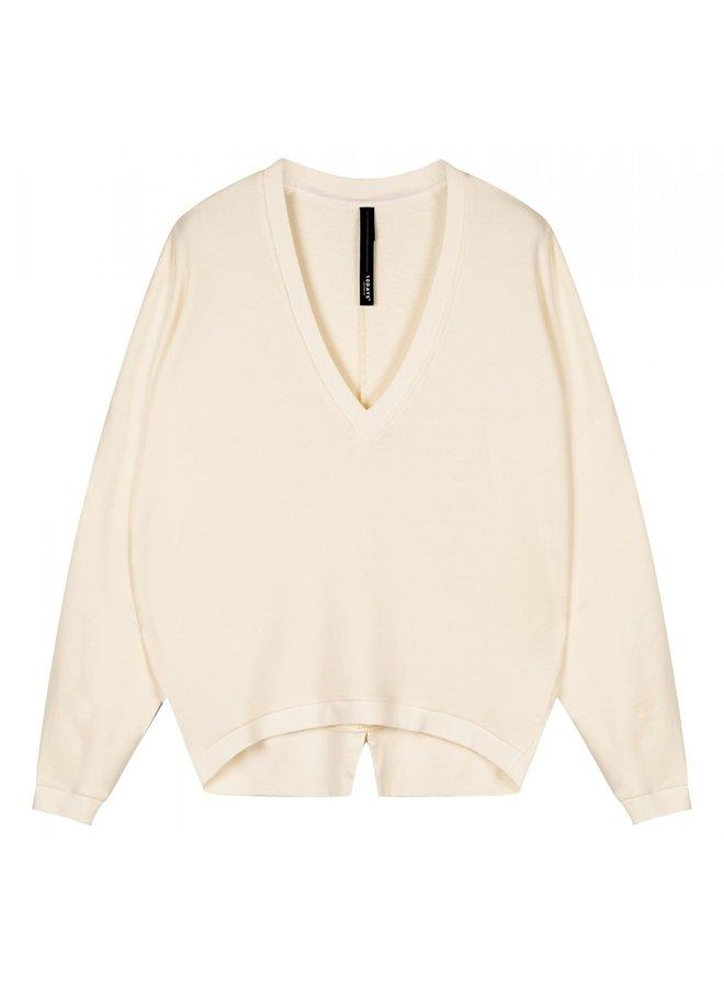 Trui V-neck sweater ecru