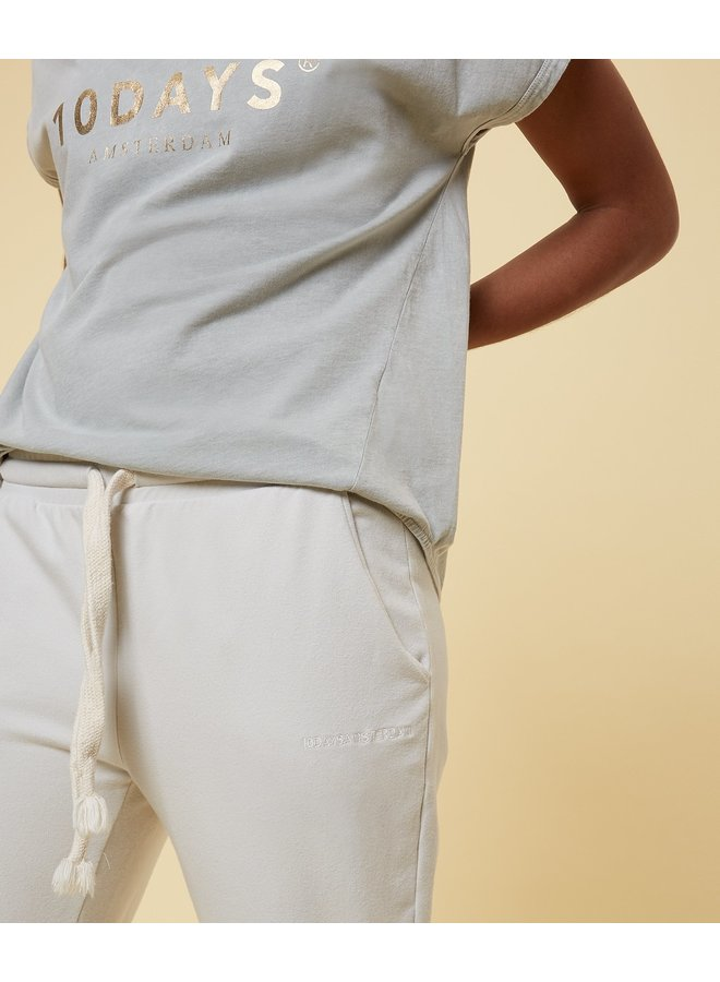 Broek cropped jogger silver white