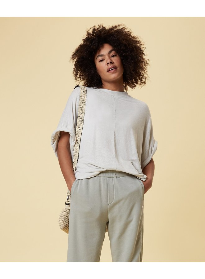 Top Oversized tee linen silver white