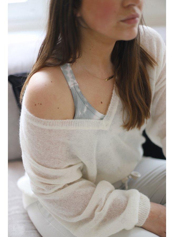 Trui Thin sweater v-neck ecru