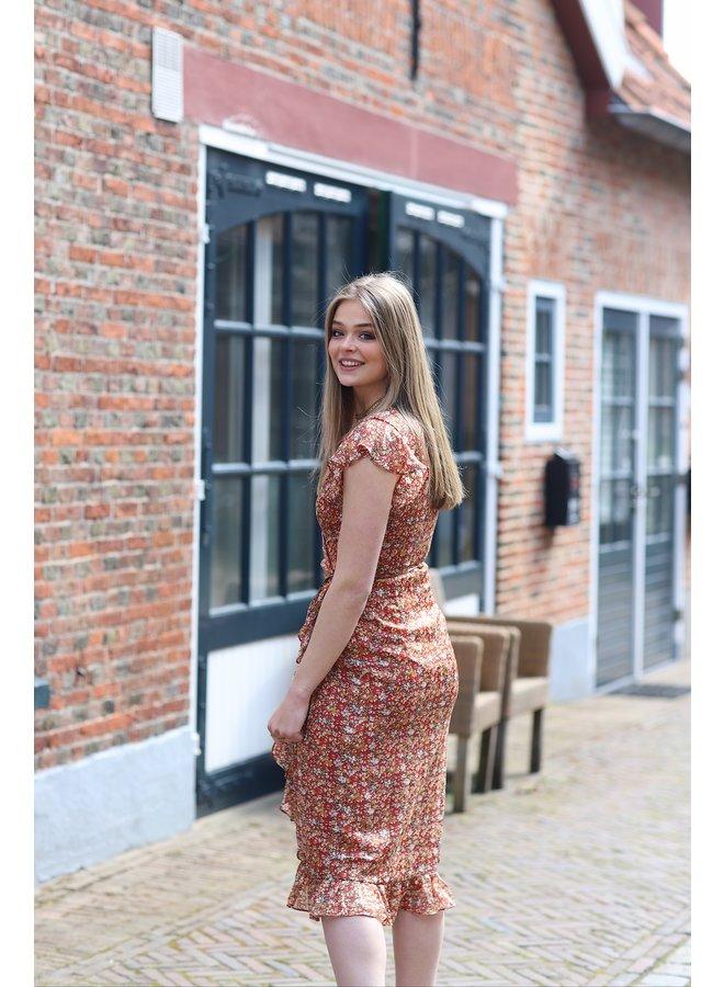 Jurk Rosy midi dress orange