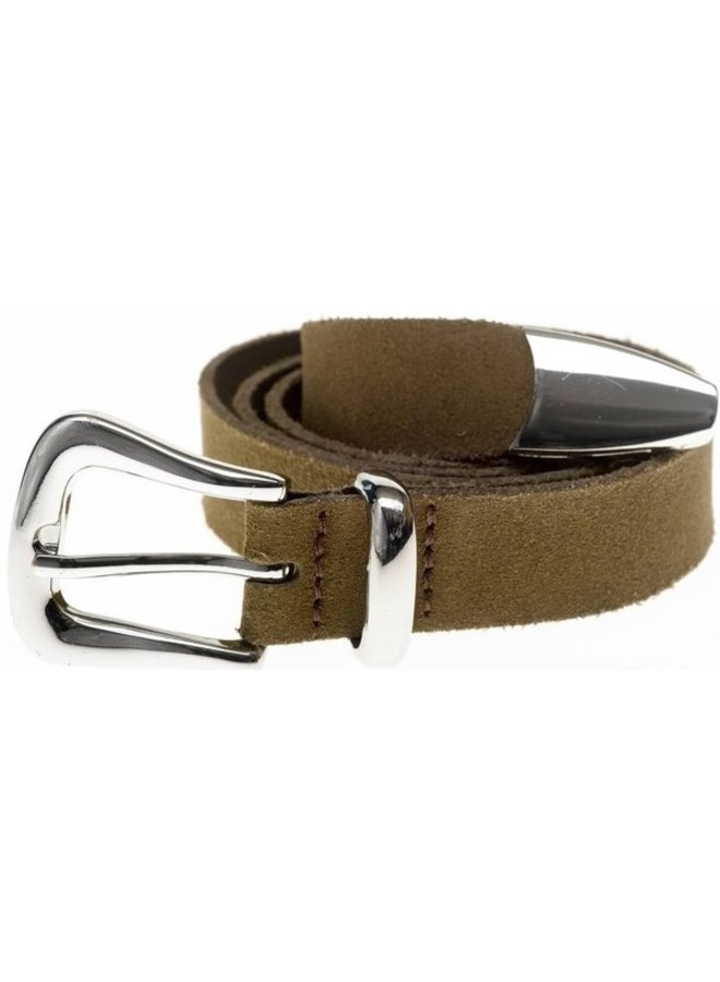 Riem Suede belt taupe/silver ONE SIZE