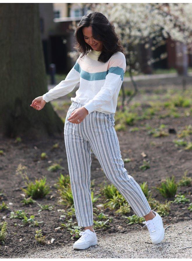 Broek Nigelia aquamarine stripes