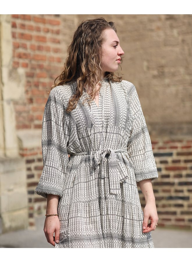 Jurk midi dress Mabel off white