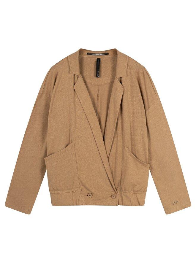 Vest blazer linen dark soft beige