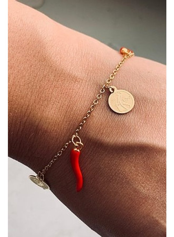 Armband Anne goud/rood