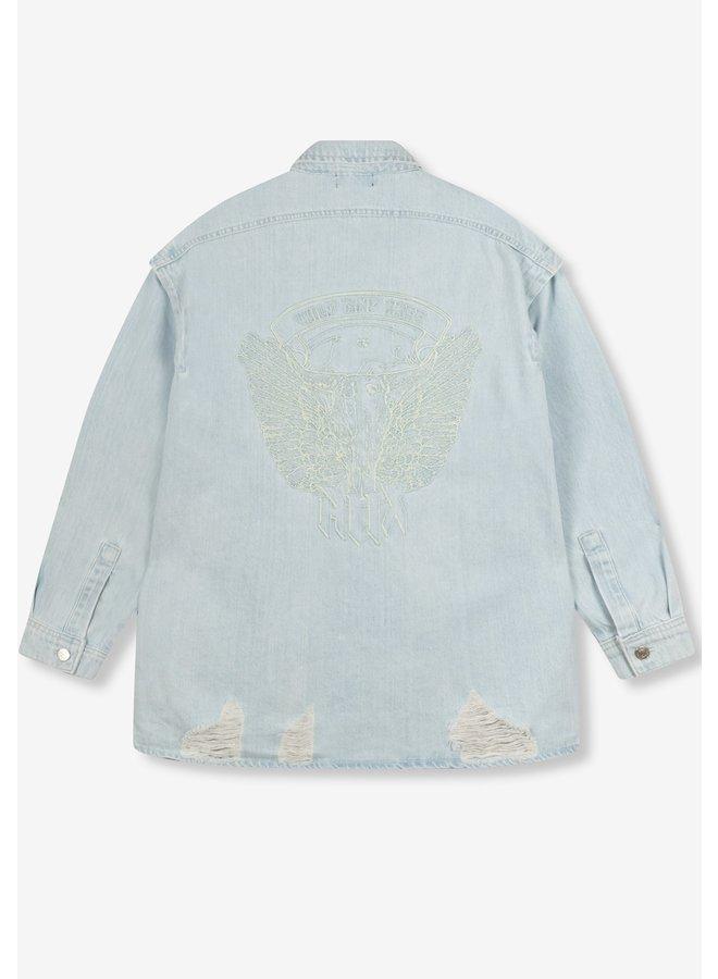 Jack Ladies woven Alix embroidered denim jacket light blue denim