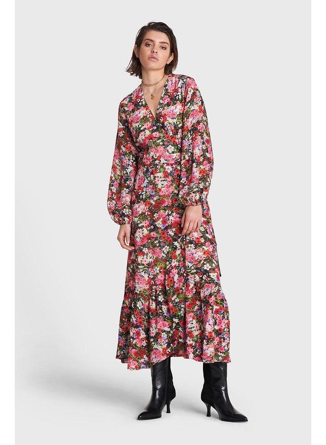 Jurk Ladies woven flower explosion maxi wrap dress