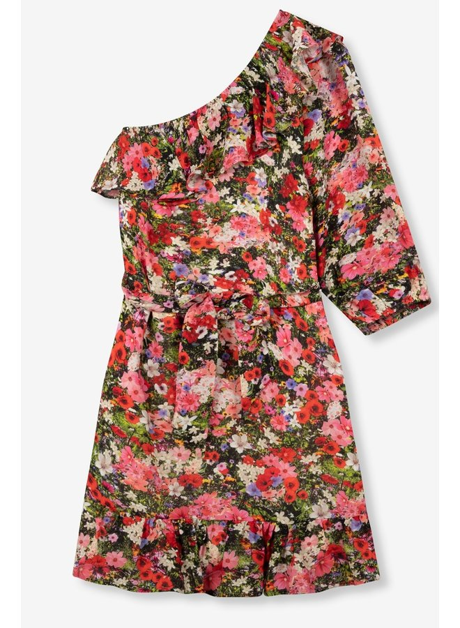 Jurk Ladies woven flower explosion one shoulder dress