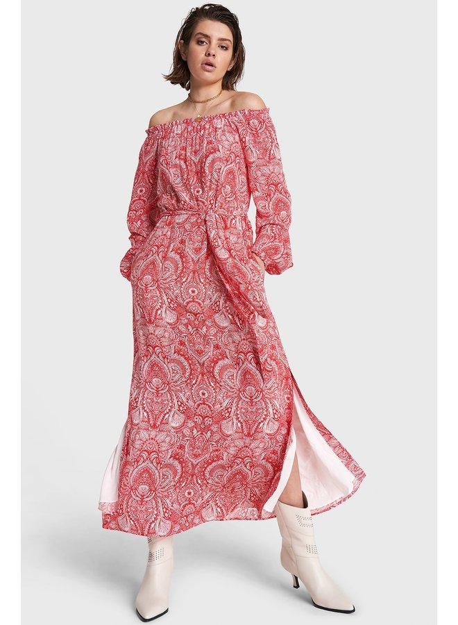 Jurk Ladies woven refined line off shoulder maxi dress intense red