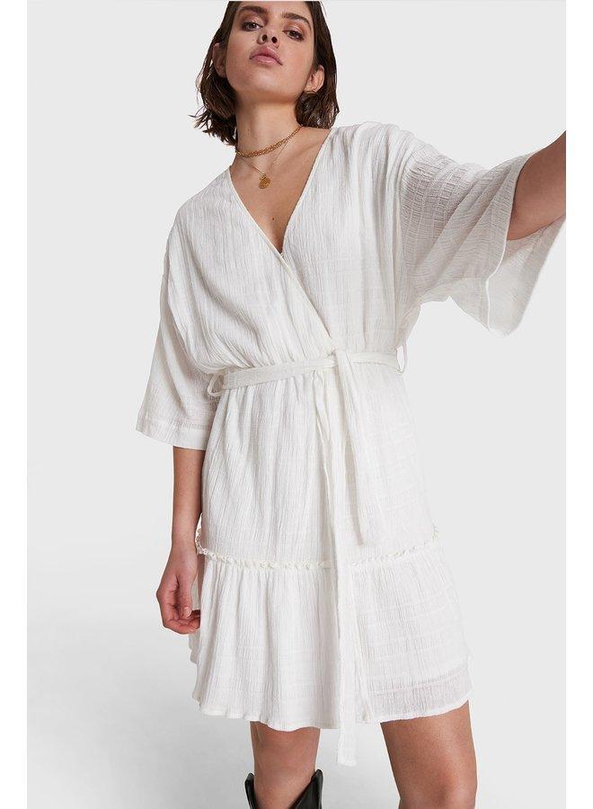 Jurk ladies woven tonal jacquard mini dress soft white