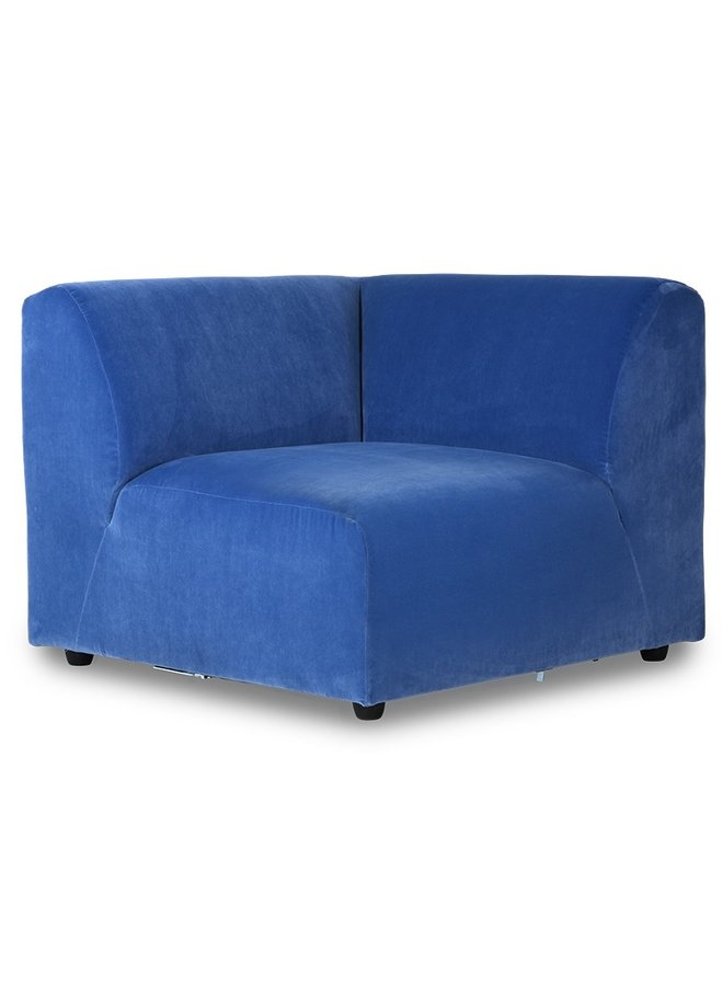 Bank jax couch: element right end, royal velvet, blue
