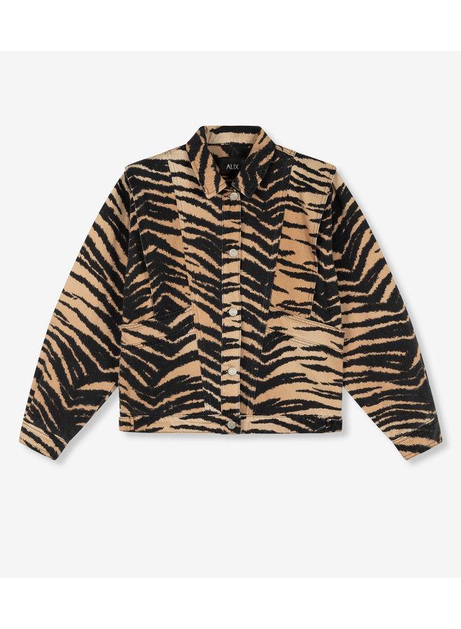 Jack ladies woven tiger denim jacket animal