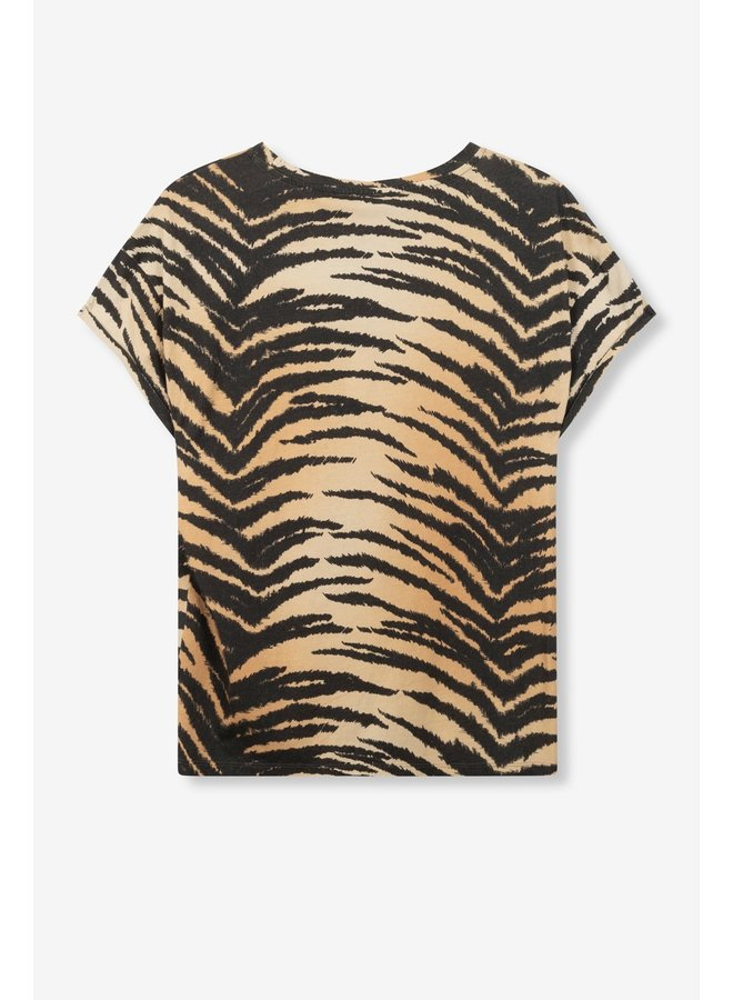 T-shirt ladies knitted boxy allover tiger t-shirt animal