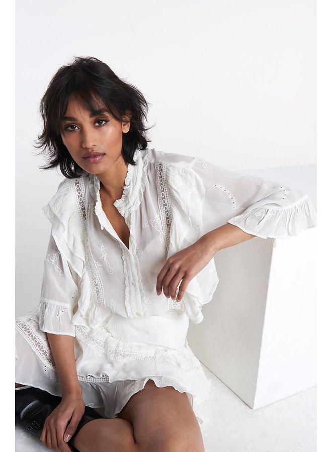 Blouse ladies woven embroidery chiffon blouse soft white