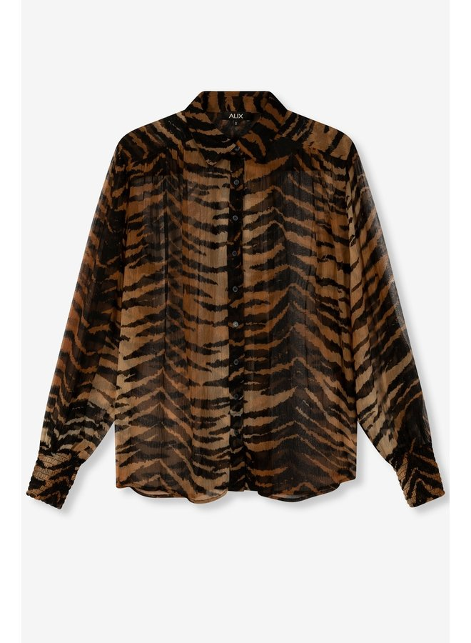Blouse ladies woven tiger crinkle chiffon blouse animal