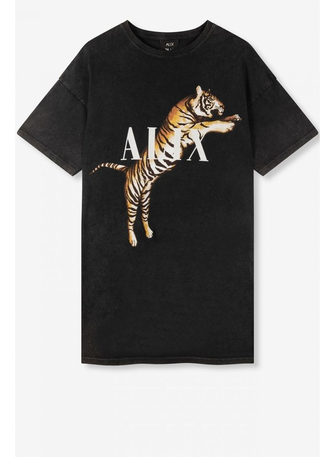 Jurk ladies knitted tiger t-shirt dress black