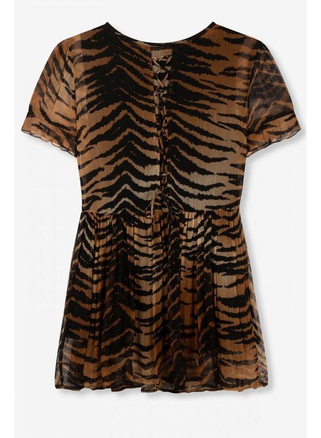 Jurk ladies woven tiger crinkle chiffon dress animal