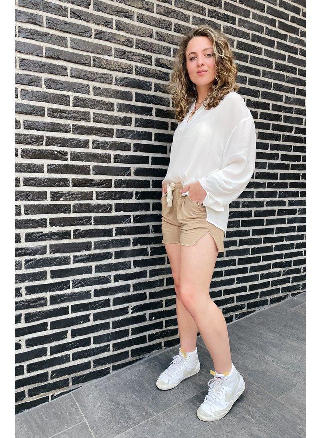Broek shorts linen dark soft beige