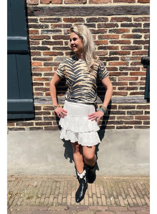 Rok ladies woven embroidery chiffon skirt soft white