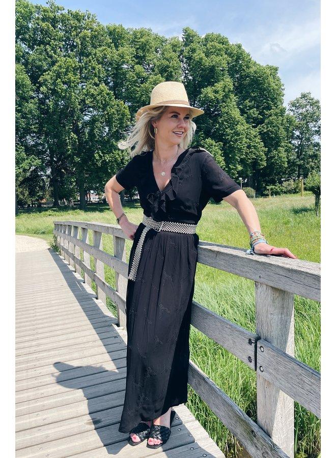 Jurk ladies woven embroidery chiffon dress black