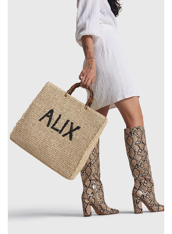 Tas ladies woven Alix paper crochet shopper ecru