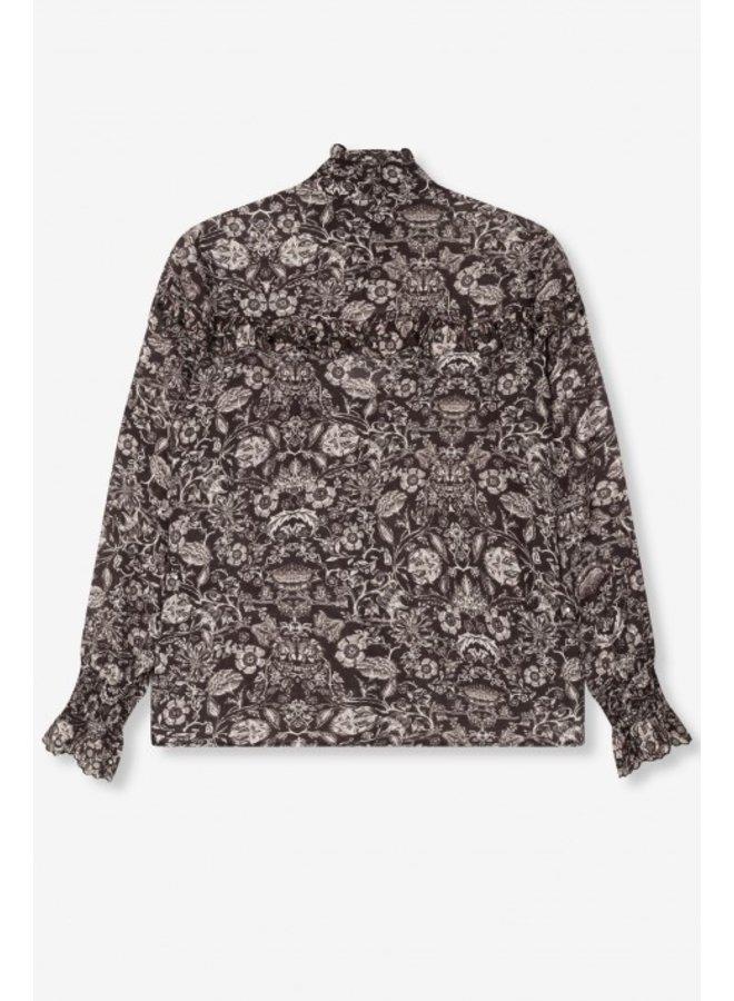 Blouse woven flower linen blouse black