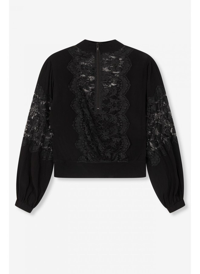 Blouse ladies woven lace crepe blouse black