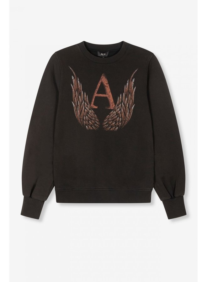 Sweater  ladies knitted A wings sweater black