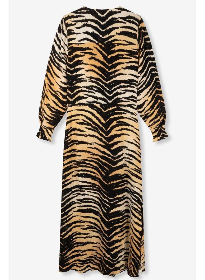 Jurk ladies woven tiger viscose maxi dress animal
