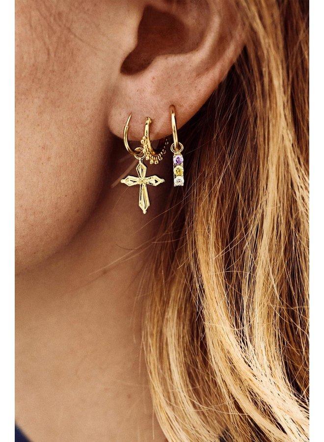 Oorbel single madonna cross ring earring goldplated goud