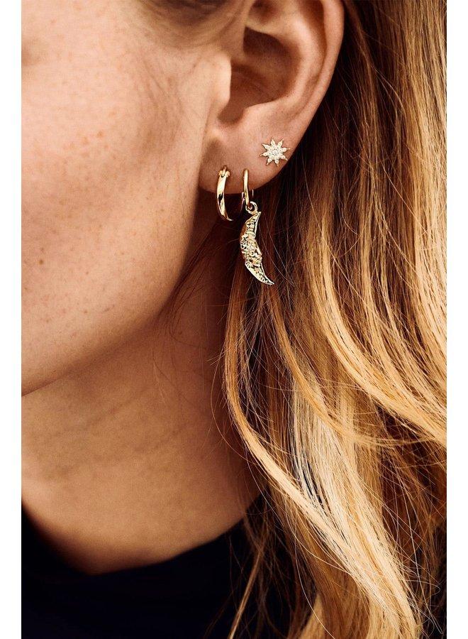 Oorbel single wonderland ring earring goldplated goud