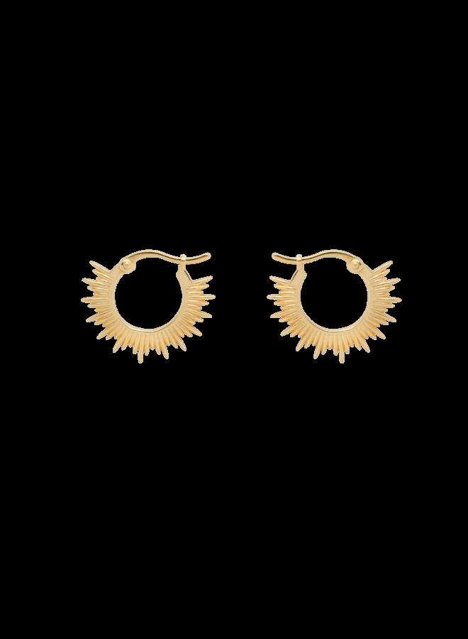 Oorbellen rising sun rings earring goldplated goud