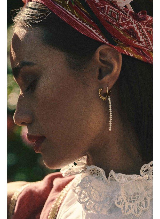 Oorbel single pearl rain ring earring goldplated wit