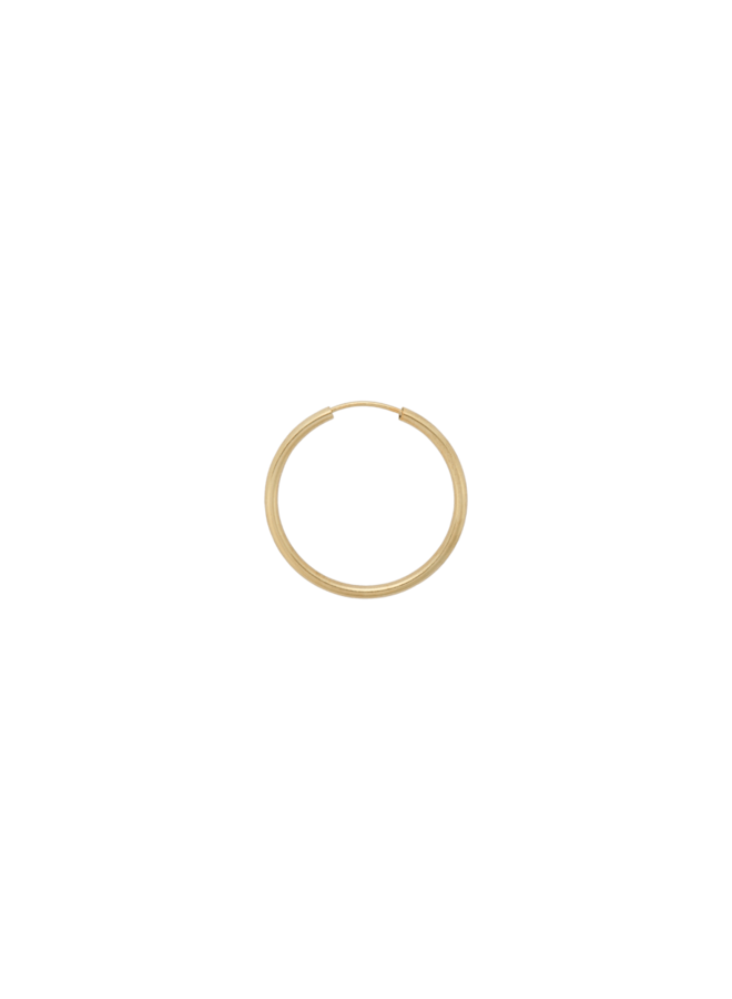 Oorbel single thick plain ring earring XXL goldplated goud