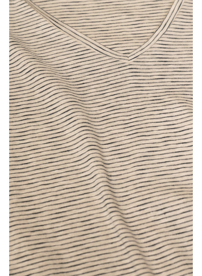 Top Malu slub stripes chalk